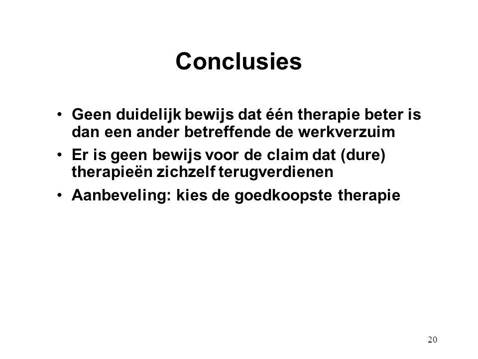 20 Conclusies Geen duidelijk bewijs dat één therapie beter is dan een ander betreffende de werkverzuim Er is geen bewijs voor de claim dat (dure) ther