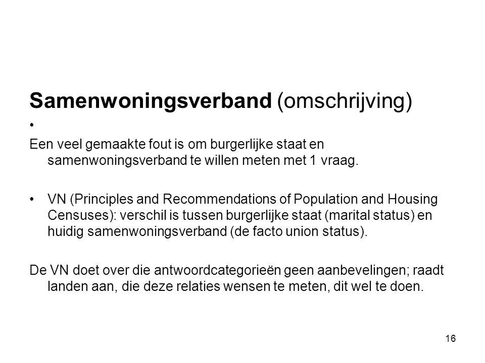 Samenwoningsverband (omschrijving) Een veel gemaakte fout is om burgerlijke staat en samenwoningsverband te willen meten met 1 vraag. VN (Principles a