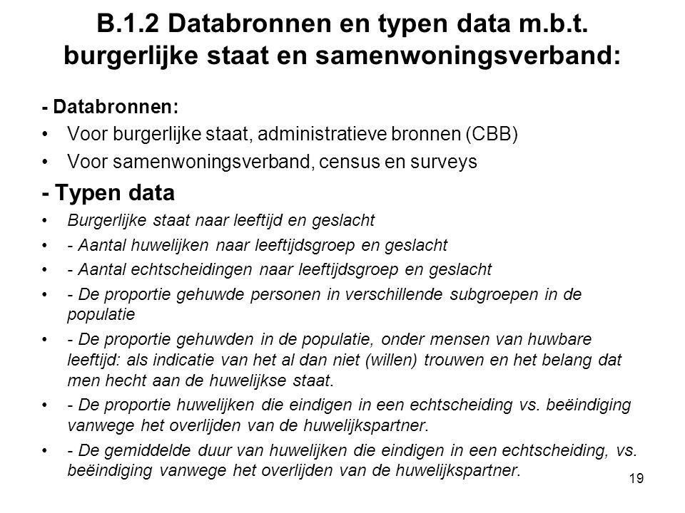 B.1.2 Databronnen en typen data m.b.t. burgerlijke staat en samenwoningsverband: - Databronnen: Voor burgerlijke staat, administratieve bronnen (CBB)