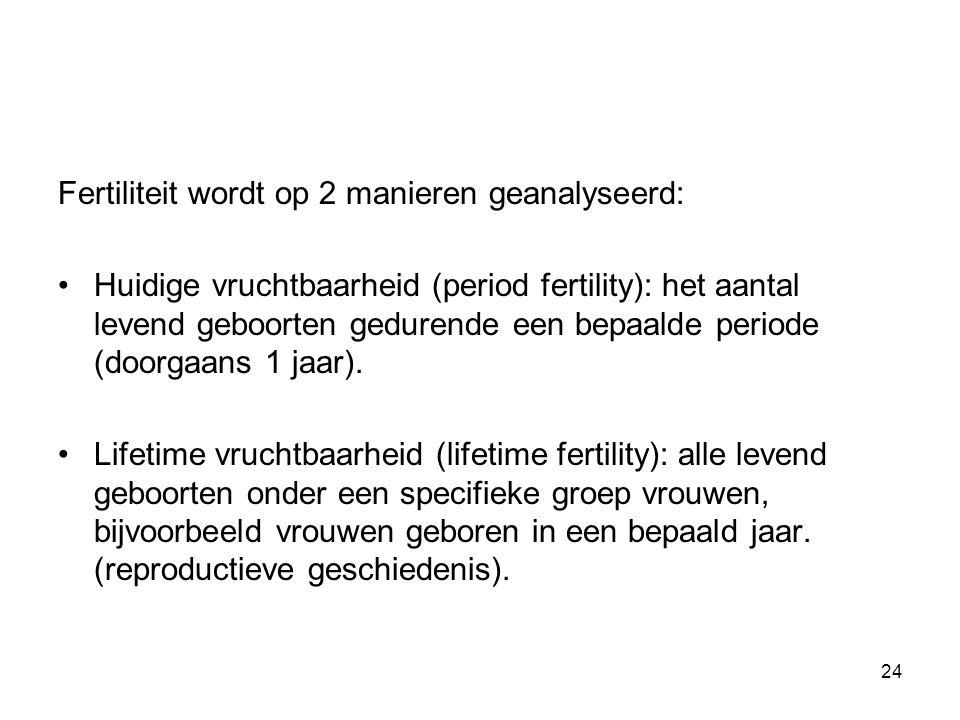 Fertiliteit wordt op 2 manieren geanalyseerd: Huidige vruchtbaarheid (period fertility): het aantal levend geboorten gedurende een bepaalde periode (d