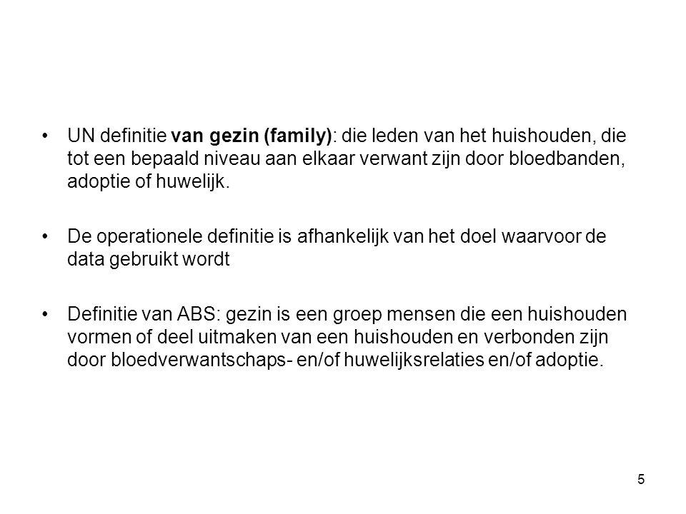 UN definitie van gezin (family): die leden van het huishouden, die tot een bepaald niveau aan elkaar verwant zijn door bloedbanden, adoptie of huwelij