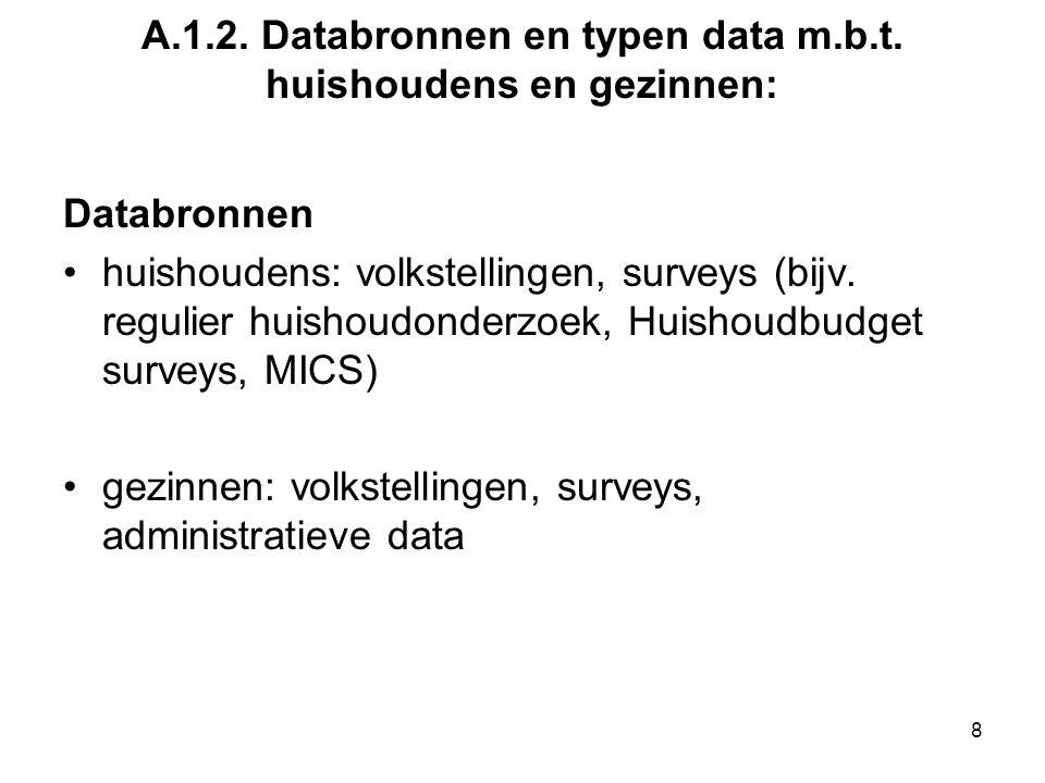 A.1.2. Databronnen en typen data m.b.t. huishoudens en gezinnen: Databronnen huishoudens: volkstellingen, surveys (bijv. regulier huishoudonderzoek, H