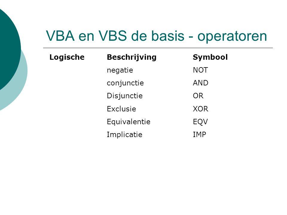 VBA en VBS de basis - operatoren LogischeBeschrijvingSymbool negatieNOT conjunctieAND DisjunctieOR ExclusieXOR EquivalentieEQV ImplicatieIMP