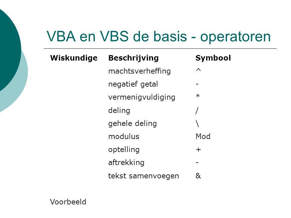 VBA en VBS de basis - operatoren VergelijkingBeschrijvingSymbool gelijkheid= ongelijkheid<> kleiner dan< groter dan> kleiner of gelijk aan<= groter of gelijk aan>= Voorbeeld