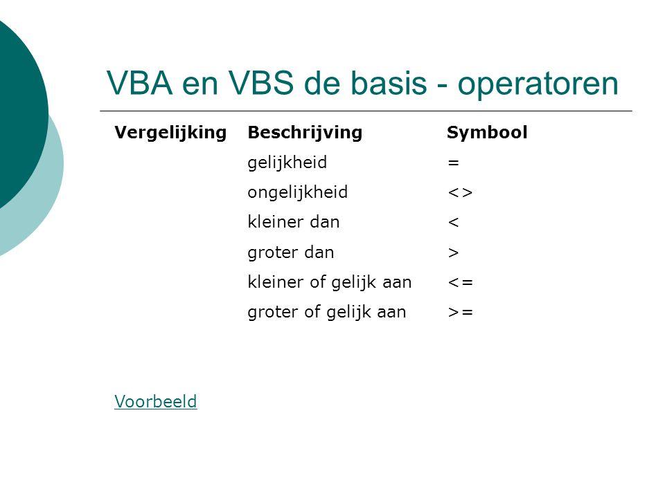 VBA en VBS de basis - operatoren VergelijkingBeschrijvingSymbool gelijkheid= ongelijkheid<> kleiner dan< groter dan> kleiner of gelijk aan<= groter of