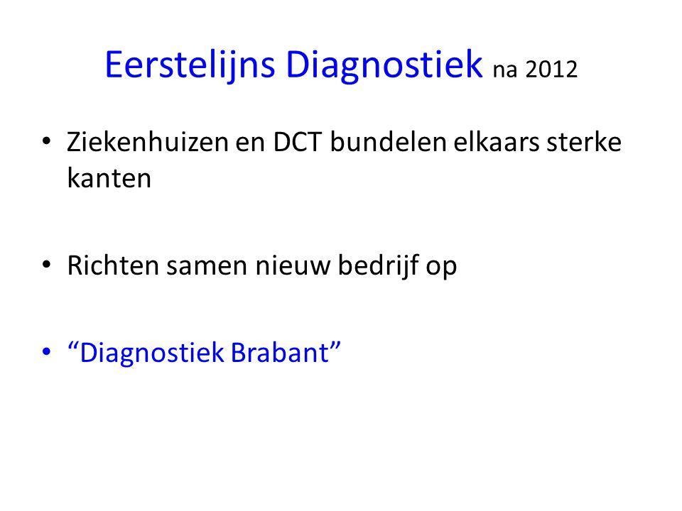 Eerstelijns Diagnostiek na 2012 Ziekenhuizen en DCT bundelen elkaars sterke kanten Richten samen nieuw bedrijf op Diagnostiek Brabant