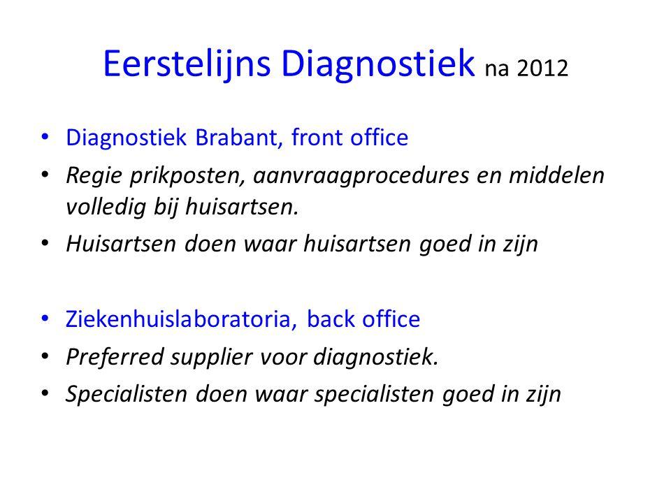 Eerstelijns Diagnostiek na 2012 Diagnostiek Brabant, front office Regie prikposten, aanvraagprocedures en middelen volledig bij huisartsen.