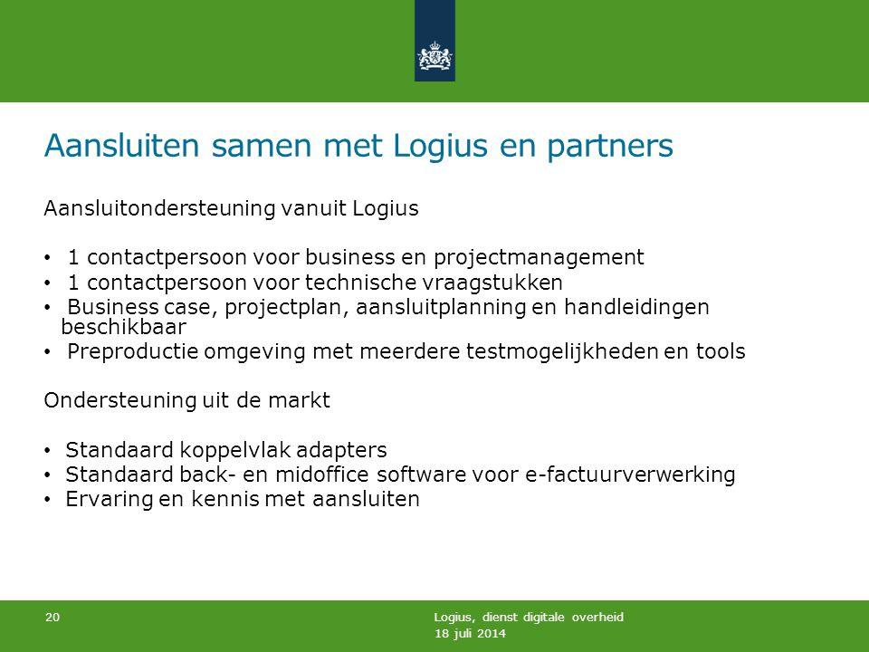 Aansluiten samen met Logius en partners Aansluitondersteuning vanuit Logius 1 contactpersoon voor business en projectmanagement 1 contactpersoon voor