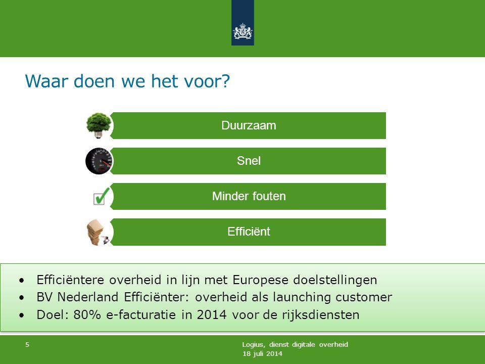 18 juli 2014 Logius, dienst digitale overheid 5 Duurzaam Snel Minder fouten Efficiënt Efficiëntere overheid in lijn met Europese doelstellingen BV Ned