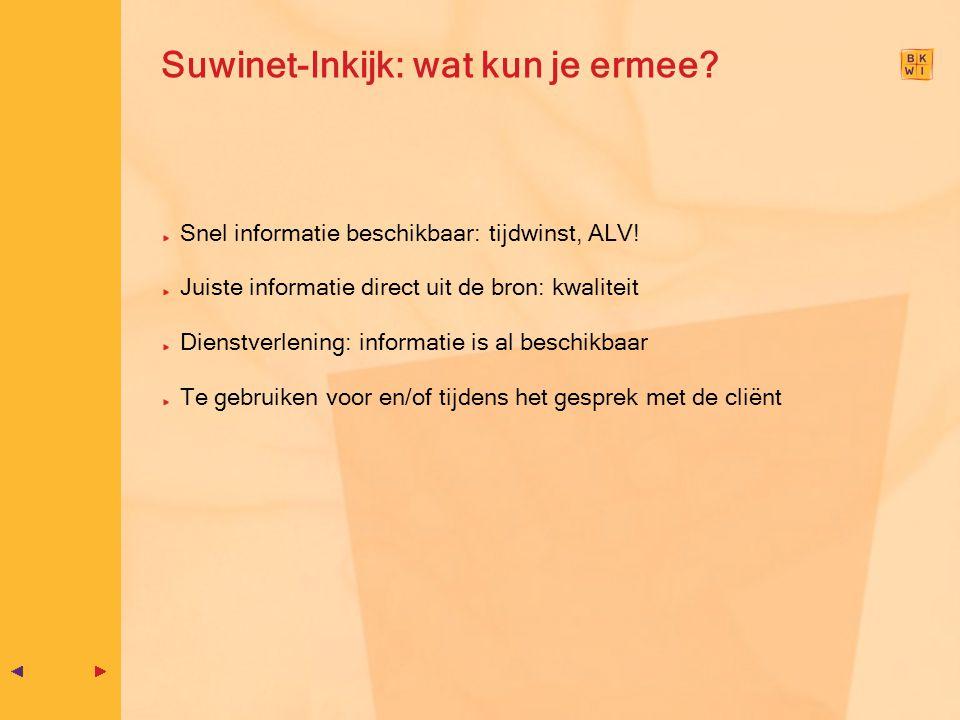 Suwinet-Inkijk: wat kun je ermee? Snel informatie beschikbaar: tijdwinst, ALV! Juiste informatie direct uit de bron: kwaliteit Dienstverlening: inform