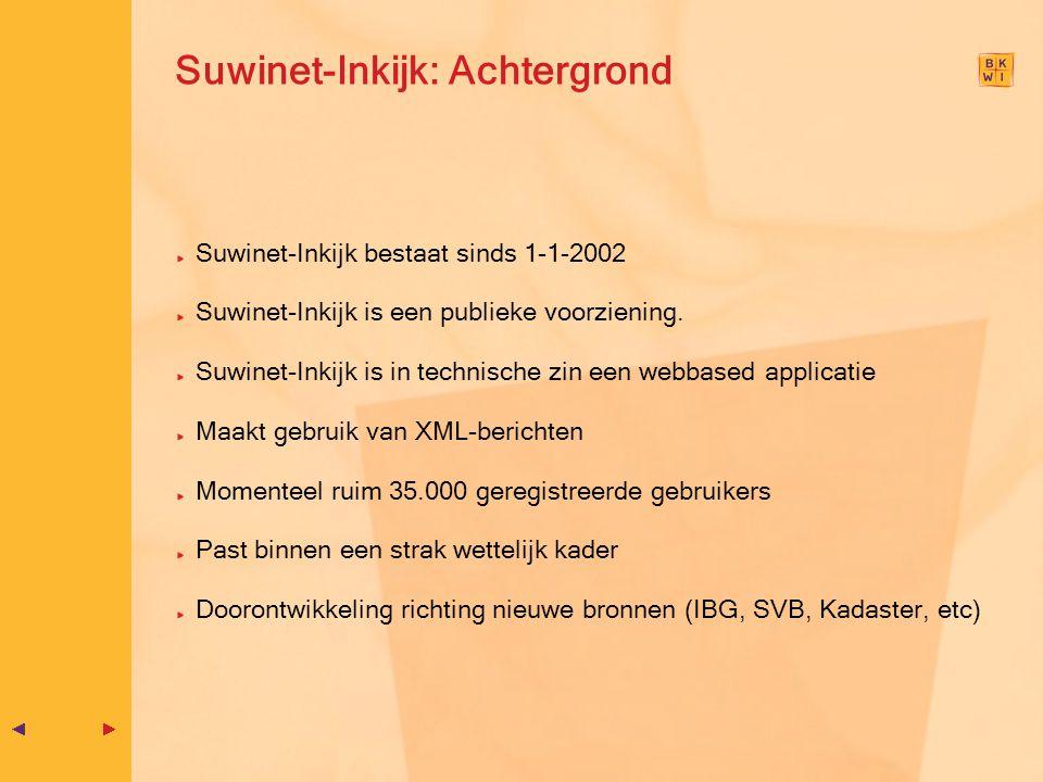 Suwinet-Inkijk: Achtergrond Suwinet-Inkijk bestaat sinds 1-1-2002 Suwinet-Inkijk is een publieke voorziening. Suwinet-Inkijk is in technische zin een