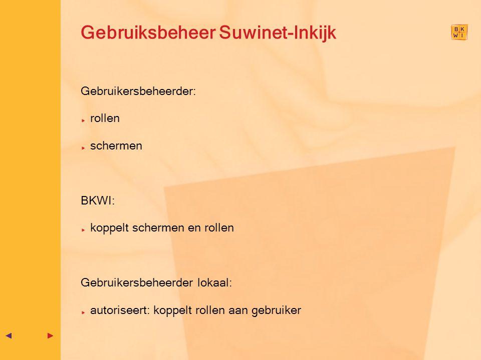 Gebruiksbeheer Suwinet-Inkijk Gebruikersbeheerder: rollen schermen BKWI: koppelt schermen en rollen Gebruikersbeheerder lokaal: autoriseert: koppelt r