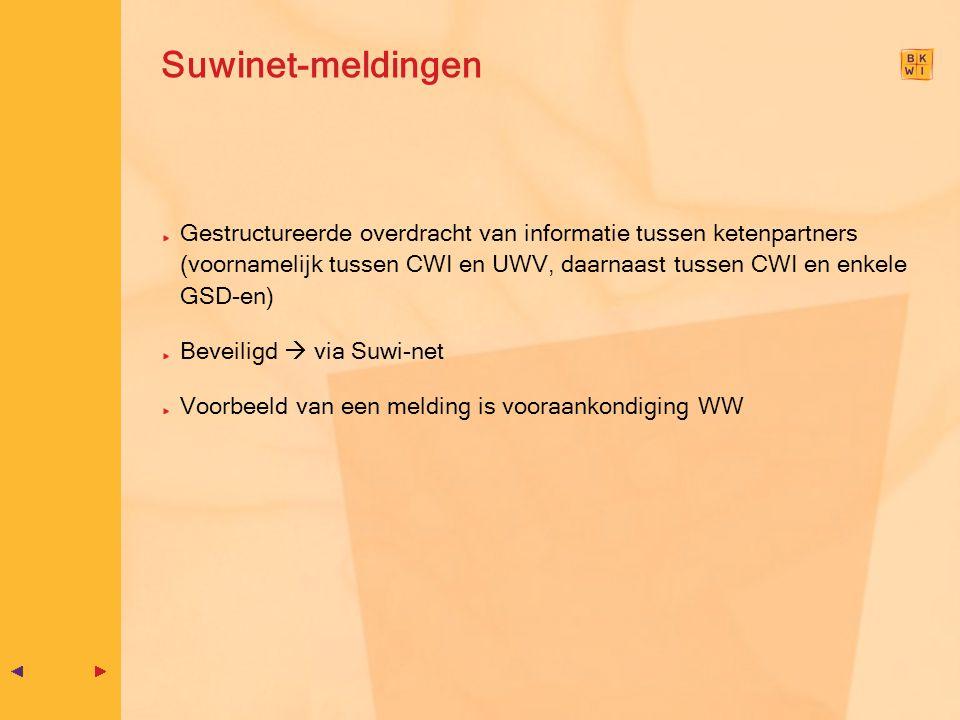 Suwinet-meldingen Gestructureerde overdracht van informatie tussen ketenpartners (voornamelijk tussen CWI en UWV, daarnaast tussen CWI en enkele GSD-e