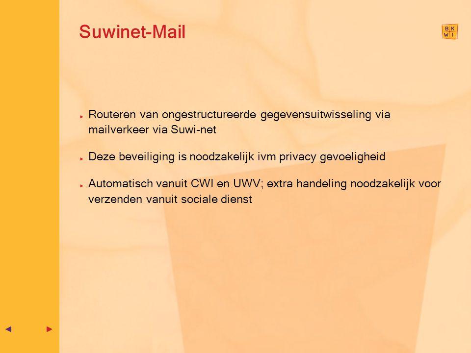 Suwinet-Mail Routeren van ongestructureerde gegevensuitwisseling via mailverkeer via Suwi-net Deze beveiliging is noodzakelijk ivm privacy gevoelighei