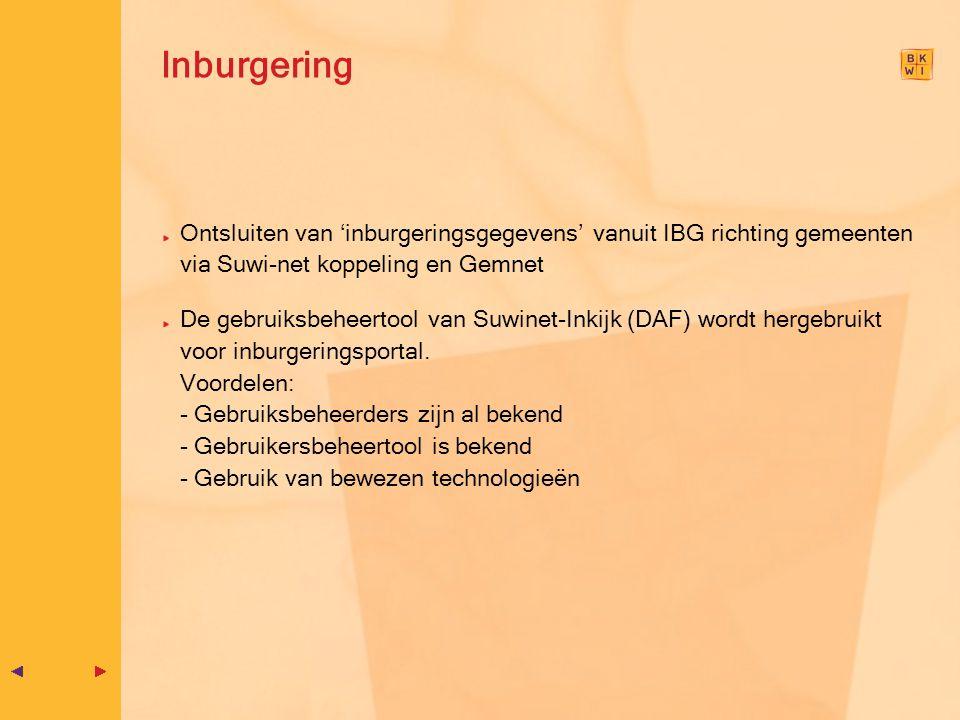 Inburgering Ontsluiten van 'inburgeringsgegevens' vanuit IBG richting gemeenten via Suwi-net koppeling en Gemnet De gebruiksbeheertool van Suwinet-Ink