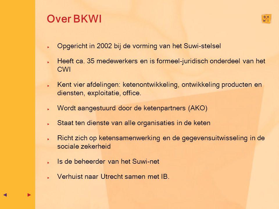 Over BKWI Opgericht in 2002 bij de vorming van het Suwi-stelsel Heeft ca. 35 medewerkers en is formeel-juridisch onderdeel van het CWI Kent vier afdel