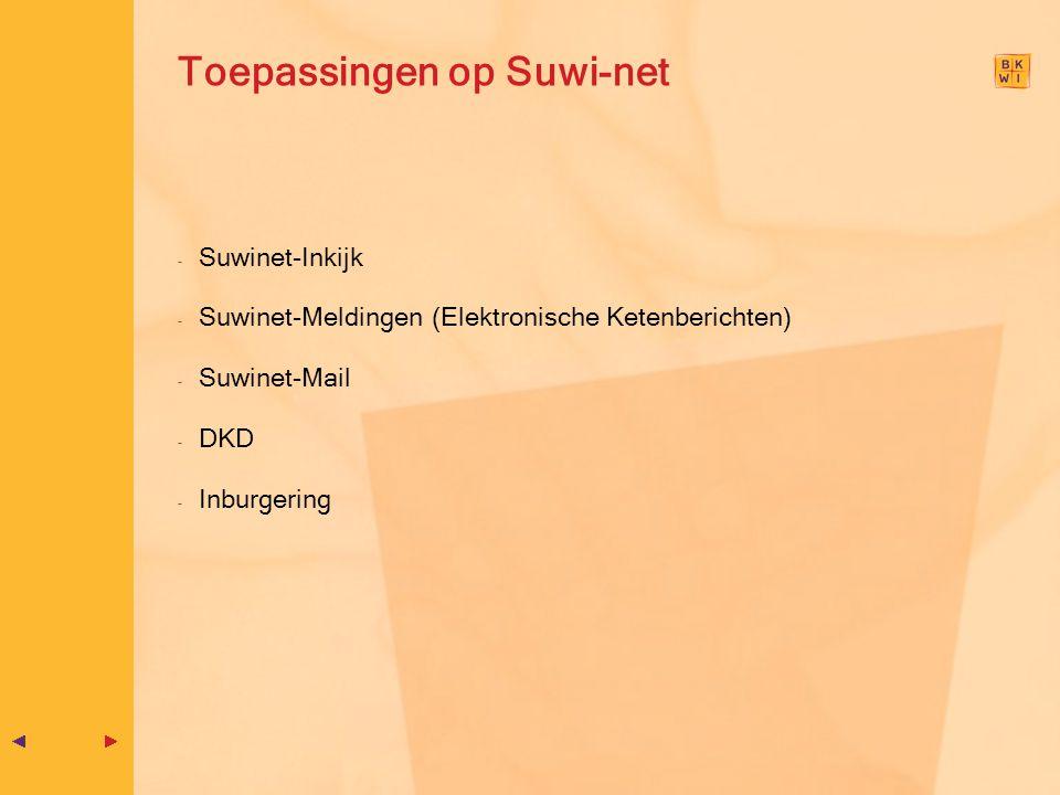 Toepassingen op Suwi-net - Suwinet-Inkijk - Suwinet-Meldingen (Elektronische Ketenberichten) - Suwinet-Mail - DKD - Inburgering
