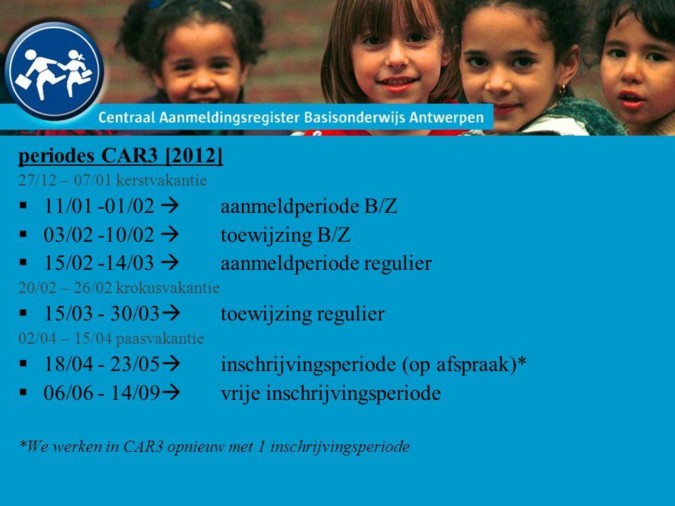 periodes CAR3 [2012] 27/12 – 07/01 kerstvakantie  11/01 -01/02  aanmeldperiode B/Z  03/02 -10/02  toewijzing B/Z  15/02 -14/03  aanmeldperiode r