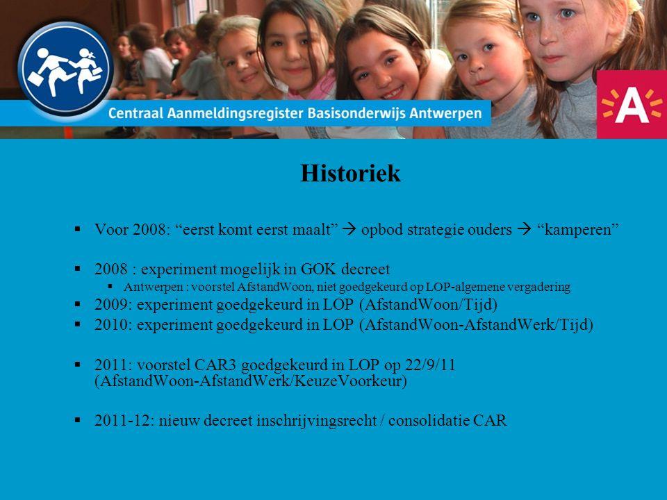 """Historiek  Voor 2008: """"eerst komt eerst maalt""""  opbod strategie ouders  """"kamperen""""  2008 : experiment mogelijk in GOK decreet  Antwerpen : voorst"""