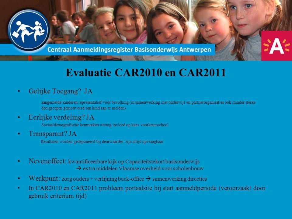 Evaluatie CAR2010 en CAR2011 Gelijke Toegang? JA aangemelde kinderen representatief voor bevolking (in samenwerking met onderwijs en partnerorganisati