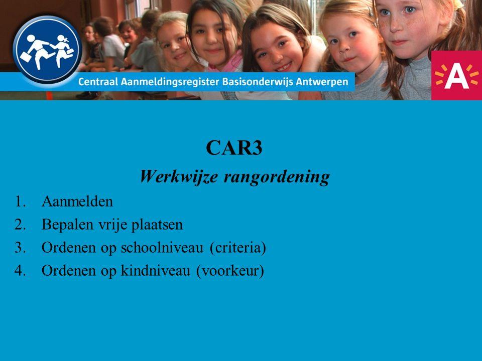 CAR3 Werkwijze rangordening 1.Aanmelden 2.Bepalen vrije plaatsen 3.Ordenen op schoolniveau (criteria) 4.Ordenen op kindniveau (voorkeur)