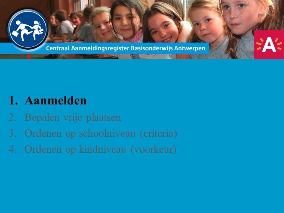 1.Aanmelden 2.Bepalen vrije plaatsen 3.Ordenen op schoolniveau (criteria) 4.Ordenen op kindniveau (voorkeur)
