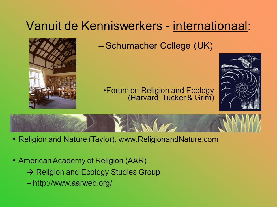 Vanuit de Kenniswerkers - internationaal: –Schumacher College (UK) Religion and Nature (Taylor): www.ReligionandNature.com American Academy of Religion (AAR)  Religion and Ecology Studies Group – http://www.aarweb.org/ Forum on Religion and Ecology (Harvard, Tucker & Grim)
