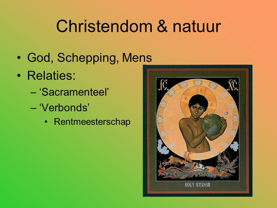 Christendom & natuur God, Schepping, Mens Relaties: –'Sacramenteel' –'Verbonds' Rentmeesterschap