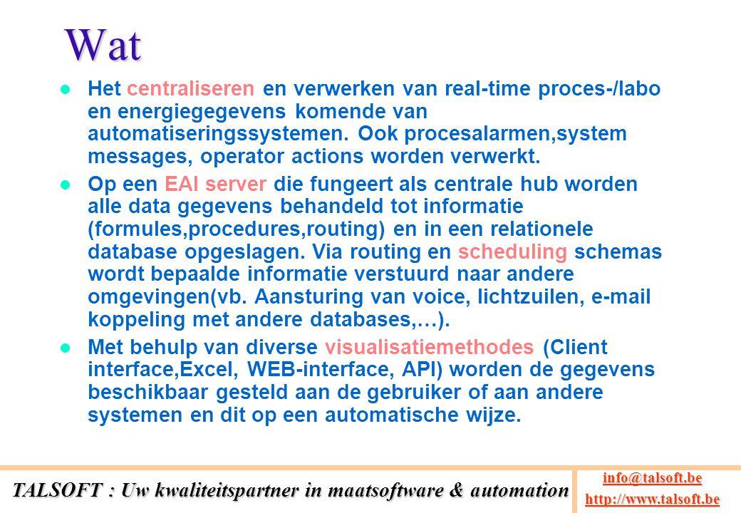 Wat Het centraliseren en verwerken van real-time proces-/labo en energiegegevens komende van automatiseringssystemen. Ook procesalarmen,system message