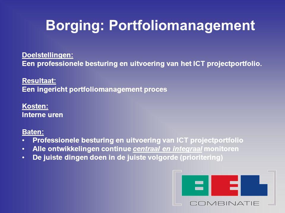 Borging: Portfoliomanagement Doelstellingen: Een professionele besturing en uitvoering van het ICT projectportfolio. Resultaat: Een ingericht portfoli