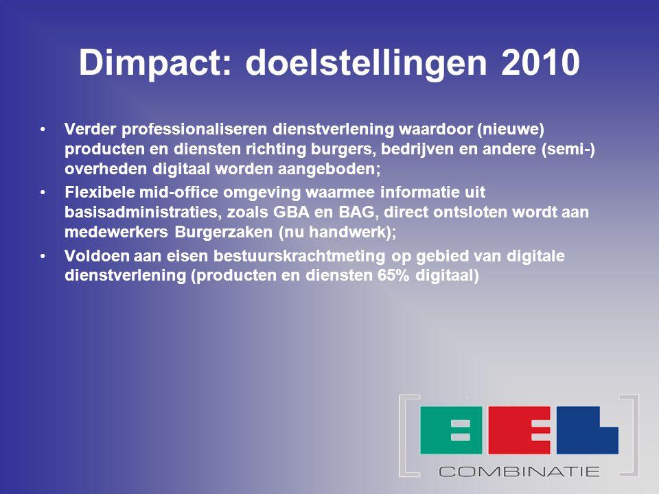 Dimpact: resultaat Implementatie Dimpact levert de volgende functionaliteiten: Digitaal loket: Eén digitaal loket voor burgers en bedrijven als ook een persoonlijk mijn loket Medewerkerportaal: informatiescherm t.b.v.