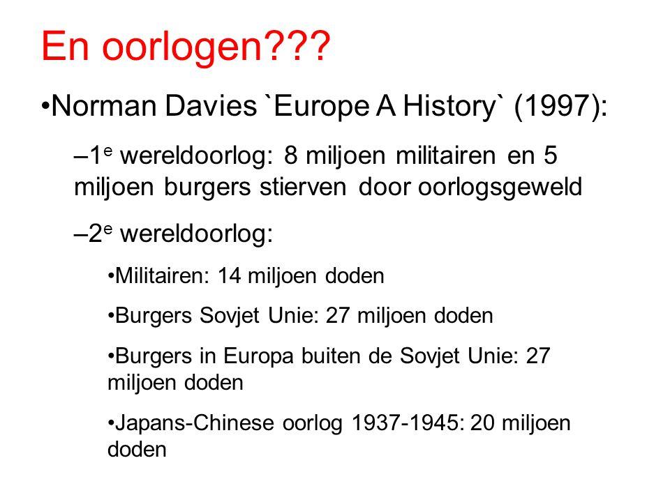En oorlogen??? Norman Davies `Europe A History` (1997): –1 e wereldoorlog: 8 miljoen militairen en 5 miljoen burgers stierven door oorlogsgeweld –2 e