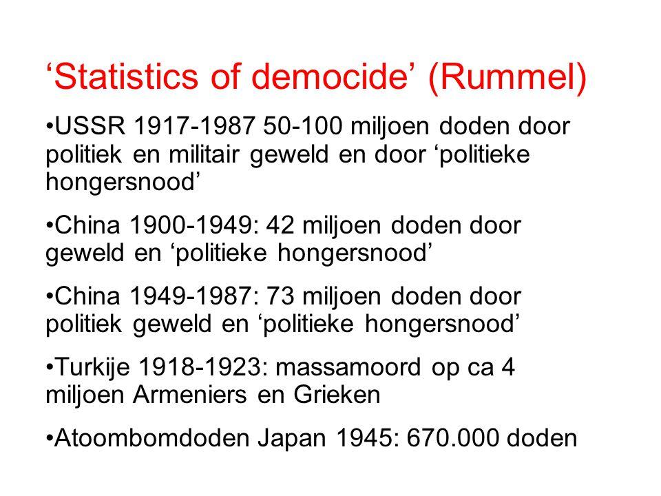 'Statistics of democide' (Rummel) USSR 1917-1987 50-100 miljoen doden door politiek en militair geweld en door 'politieke hongersnood' China 1900-1949