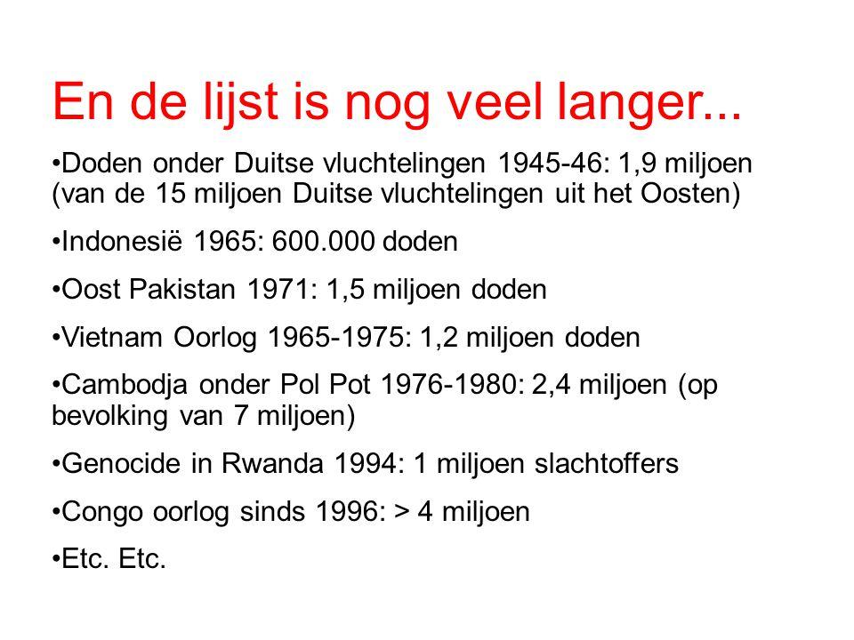 En de lijst is nog veel langer... Doden onder Duitse vluchtelingen 1945-46: 1,9 miljoen (van de 15 miljoen Duitse vluchtelingen uit het Oosten) Indone