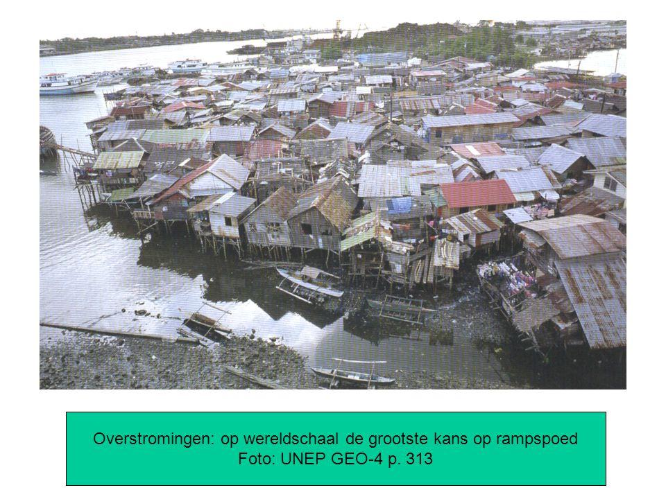 Overstromingen: op wereldschaal de grootste kans op rampspoed Foto: UNEP GEO-4 p. 313
