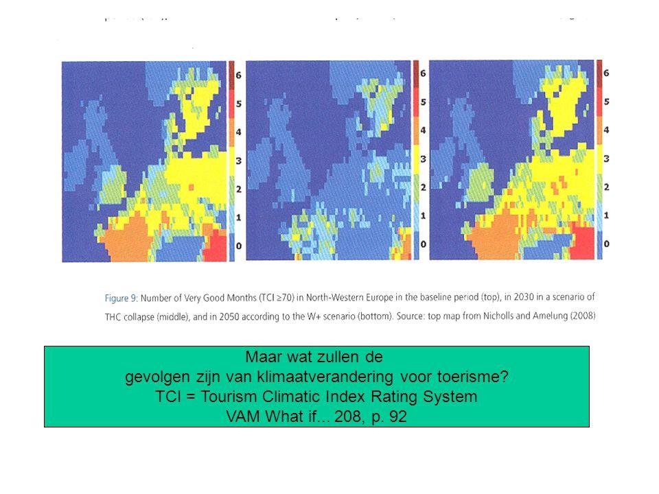 Maar wat zullen de gevolgen zijn van klimaatverandering voor toerisme? TCI = Tourism Climatic Index Rating System VAM What if... 208, p. 92