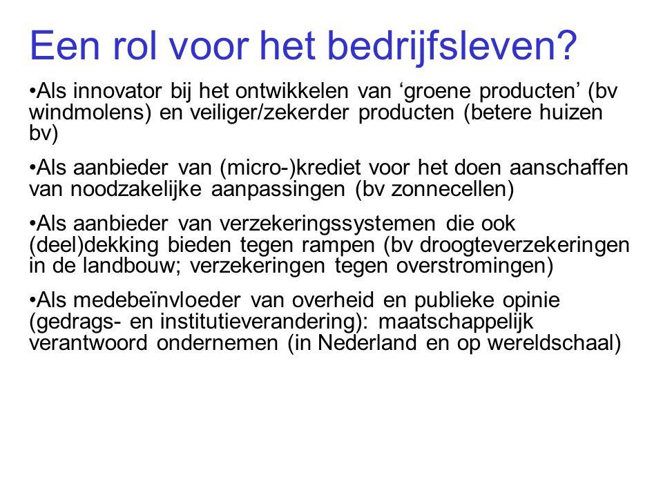 Een rol voor het bedrijfsleven? Als innovator bij het ontwikkelen van 'groene producten' (bv windmolens) en veiliger/zekerder producten (betere huizen
