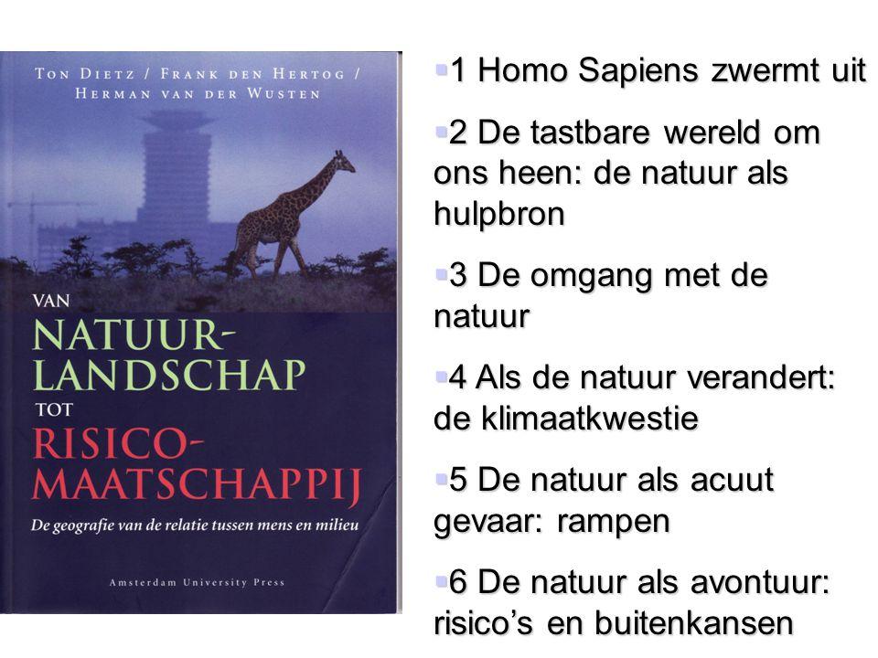  1 Homo Sapiens zwermt uit  2 De tastbare wereld om ons heen: de natuur als hulpbron  3 De omgang met de natuur  4 Als de natuur verandert: de kli