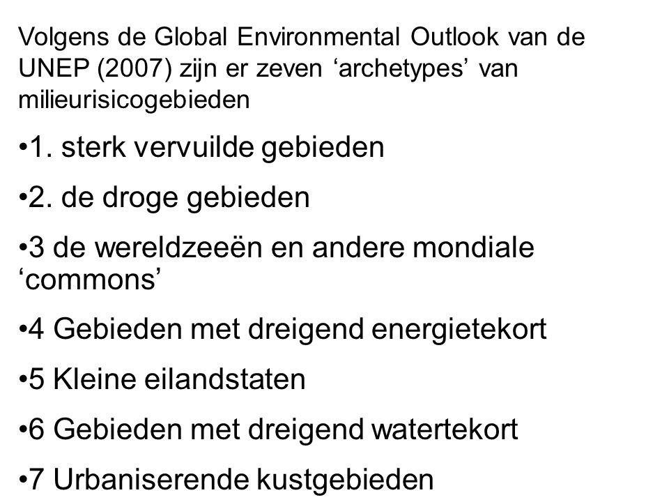 Volgens de Global Environmental Outlook van de UNEP (2007) zijn er zeven 'archetypes' van milieurisicogebieden 1. sterk vervuilde gebieden 2. de droge