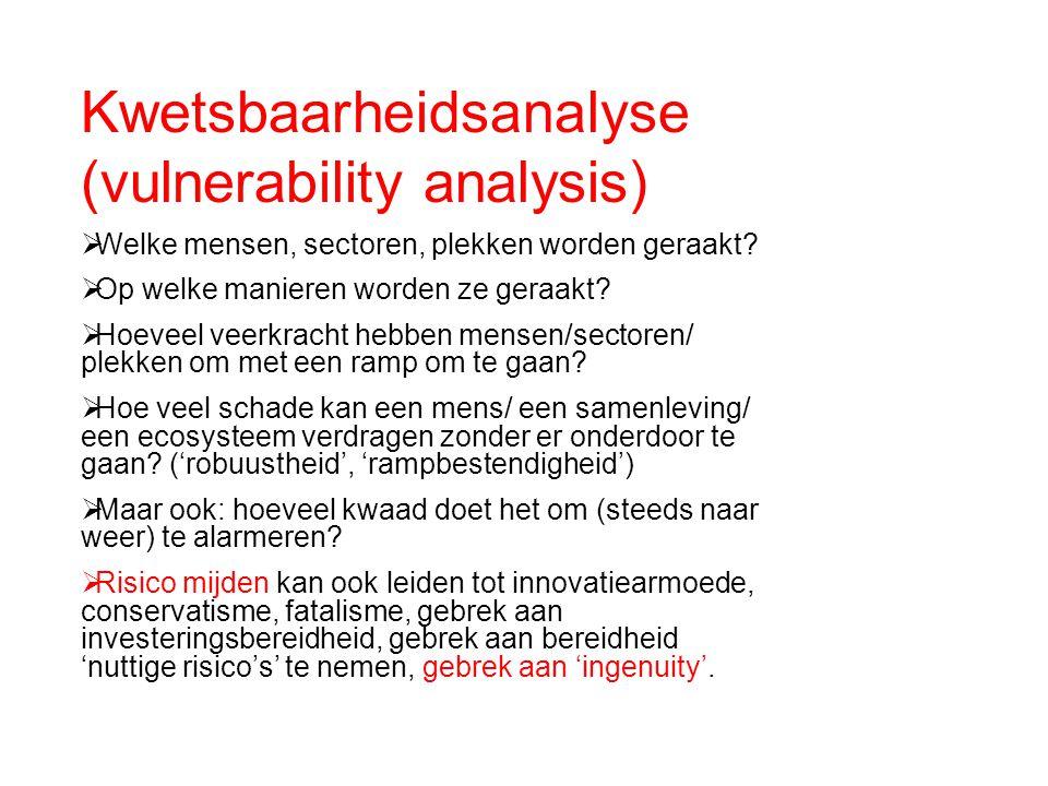 Kwetsbaarheidsanalyse (vulnerability analysis)  Welke mensen, sectoren, plekken worden geraakt?  Op welke manieren worden ze geraakt?  Hoeveel veer