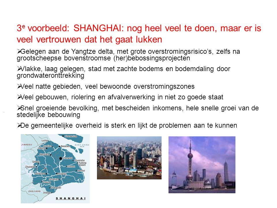 3 e voorbeeld: SHANGHAI: nog heel veel te doen, maar er is veel vertrouwen dat het gaat lukken  Gelegen aan de Yangtze delta, met grote overstromings