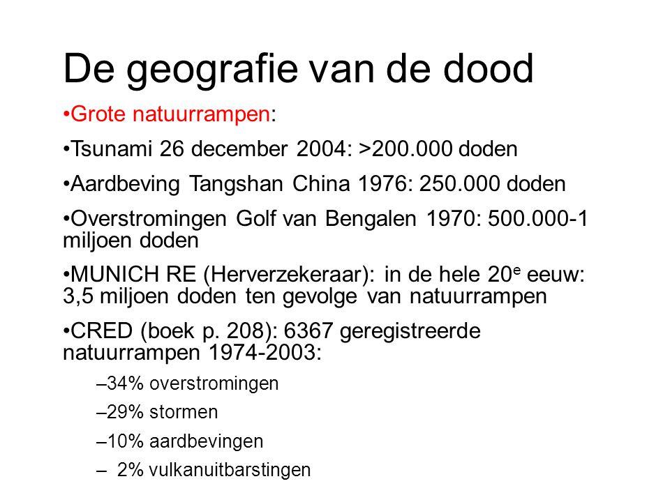 De geografie van de dood Grote natuurrampen: Tsunami 26 december 2004: >200.000 doden Aardbeving Tangshan China 1976: 250.000 doden Overstromingen Gol