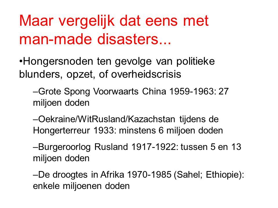 Maar vergelijk dat eens met man-made disasters... Hongersnoden ten gevolge van politieke blunders, opzet, of overheidscrisis –Grote Spong Voorwaarts C