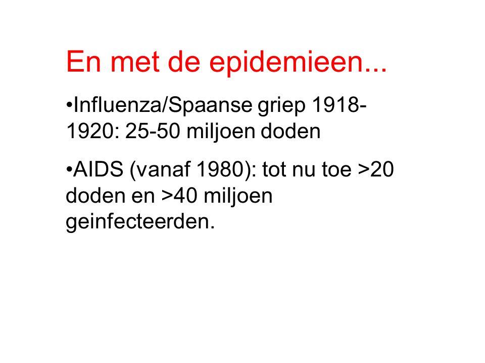 En met de epidemieen... Influenza/Spaanse griep 1918- 1920: 25-50 miljoen doden AIDS (vanaf 1980): tot nu toe >20 doden en >40 miljoen geinfecteerden.