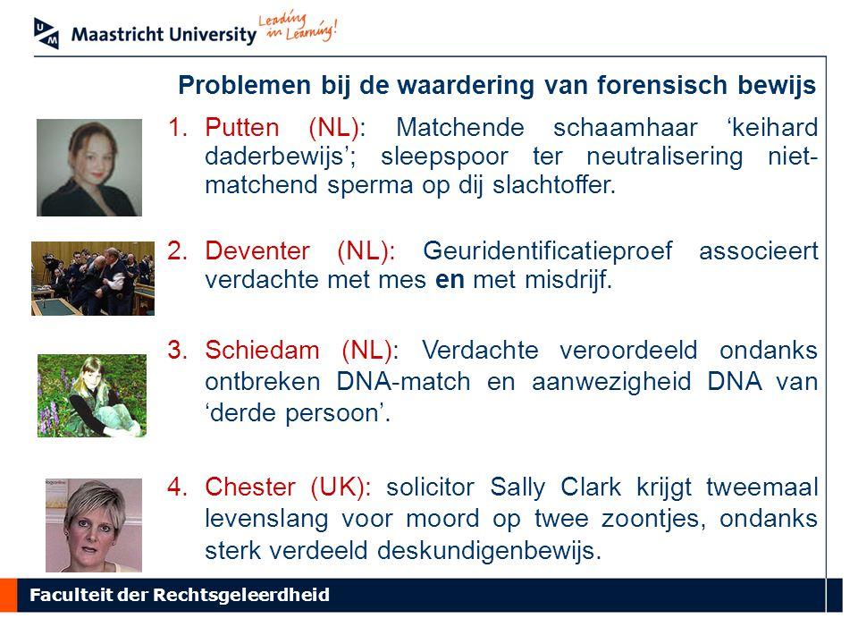 Faculteit der Rechtsgeleerdheid Problemen bij de waardering van forensisch bewijs 1.Putten (NL): Matchende schaamhaar 'keihard daderbewijs'; sleepspoor ter neutralisering niet- matchend sperma op dij slachtoffer.