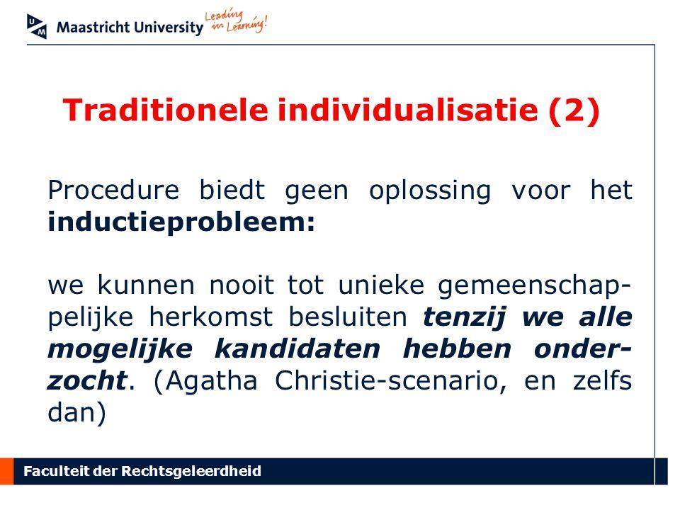 Faculteit der Rechtsgeleerdheid Traditionele individualisatie (2) Procedure biedt geen oplossing voor het inductieprobleem: we kunnen nooit tot unieke gemeenschap- pelijke herkomst besluiten tenzij we alle mogelijke kandidaten hebben onder- zocht.