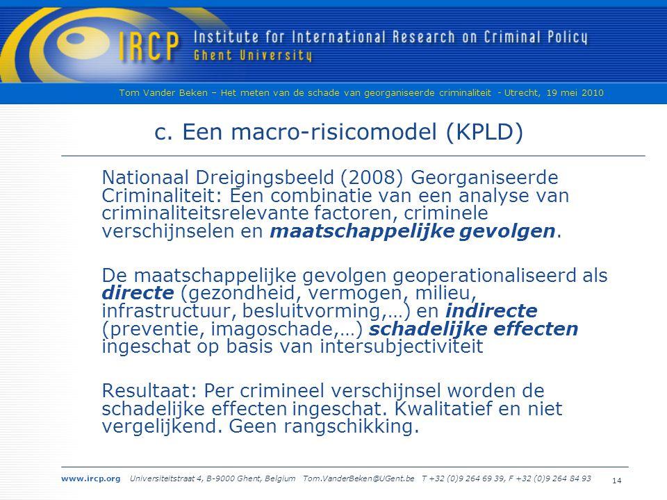 www.ircp.org Universiteitstraat 4, B-9000 Ghent, Belgium Tom.VanderBeken@UGent.be T +32 (0)9 264 69 39, F +32 (0)9 264 84 93 Tom Vander Beken – Het meten van de schade van georganiseerde criminaliteit - Utrecht, 19 mei 2010 14 c.