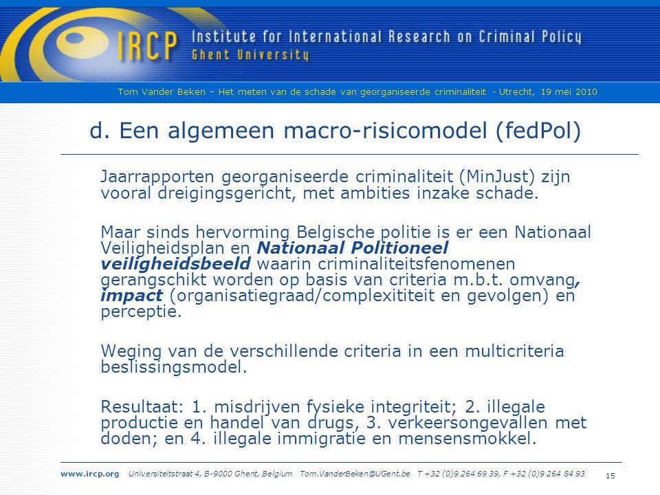 www.ircp.org Universiteitstraat 4, B-9000 Ghent, Belgium Tom.VanderBeken@UGent.be T +32 (0)9 264 69 39, F +32 (0)9 264 84 93 Tom Vander Beken – Het meten van de schade van georganiseerde criminaliteit - Utrecht, 19 mei 2010 15 d.