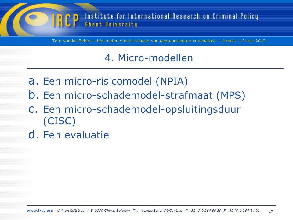 www.ircp.org Universiteitstraat 4, B-9000 Ghent, Belgium Tom.VanderBeken@UGent.be T +32 (0)9 264 69 39, F +32 (0)9 264 84 93 Tom Vander Beken – Het meten van de schade van georganiseerde criminaliteit - Utrecht, 19 mei 2010 4.