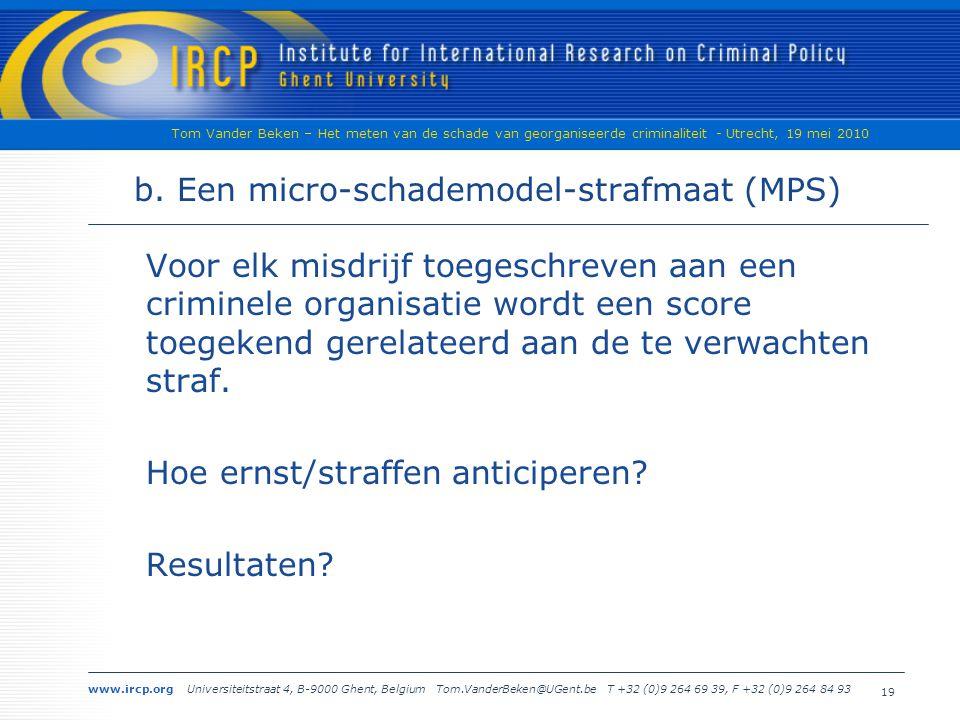 www.ircp.org Universiteitstraat 4, B-9000 Ghent, Belgium Tom.VanderBeken@UGent.be T +32 (0)9 264 69 39, F +32 (0)9 264 84 93 Tom Vander Beken – Het meten van de schade van georganiseerde criminaliteit - Utrecht, 19 mei 2010 19 b.